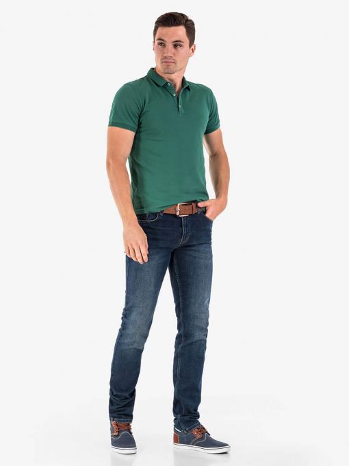Зелена мъжка блуза с яка 501519 INDIGO Fashion