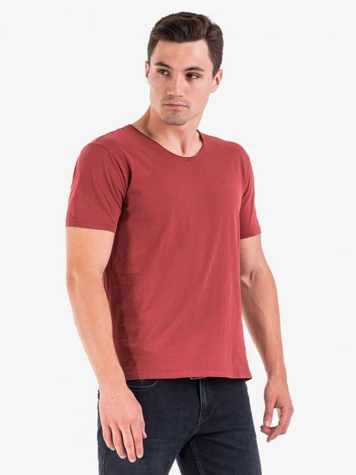 Мъжка тениска с V - образно деколте - цвят бордо 501527 INDIGO Fashion