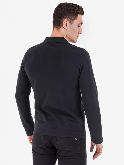 Черна спортна блуза с яка 501558 INDIGO Fashion