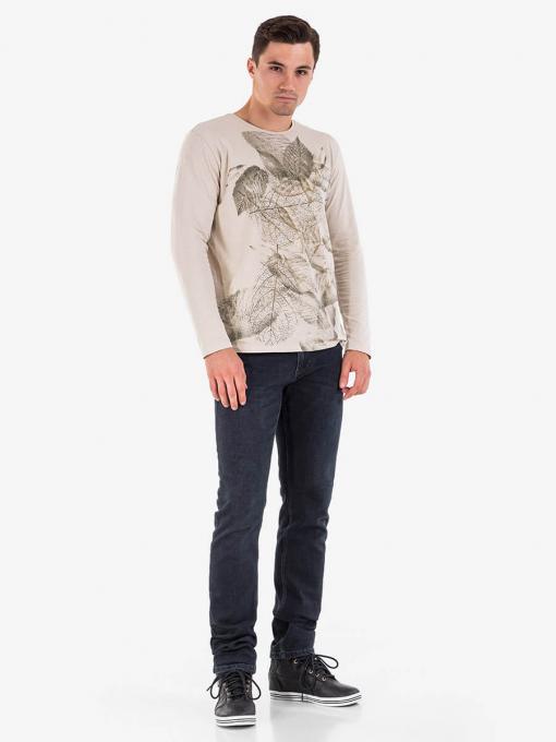 Мъжка блуза на листа - бежова 501560 INDIGO Fashion