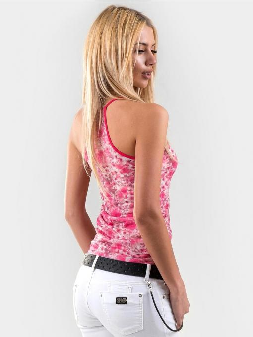Тъмно розов дамски топ с флорални мотиви 15924 INDIGO Fashion