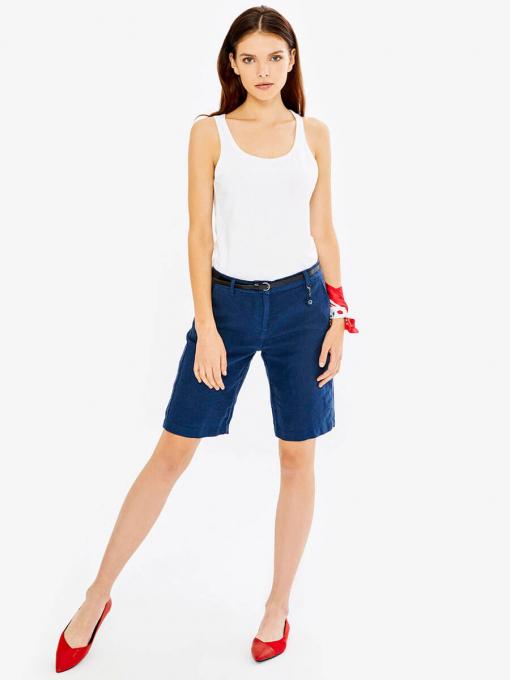 Тъмносини дамски ленени бермуди 275128 INDIGO Fashion