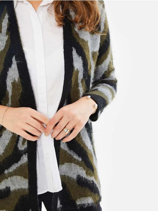 Дамска жилетка в камуфлажен десен - цвят каки 850496 INDIGO Fashion