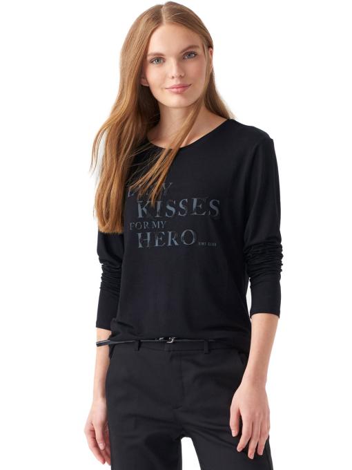 Дамска блуза с щампа XINT 142 - черна