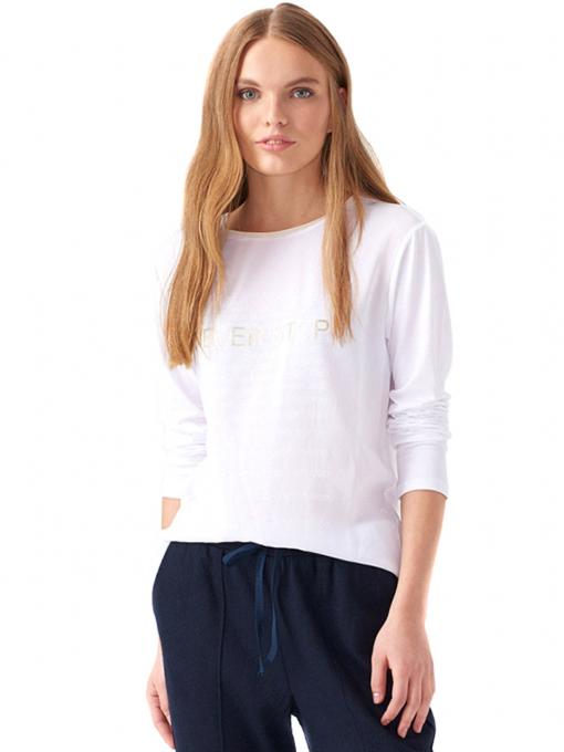 Дамска блуза с надпис XINT 146 - бяла