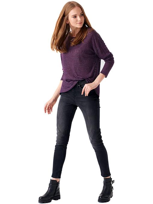 Дамска блуза свободен модел XINT 131 - тъмно лилава C