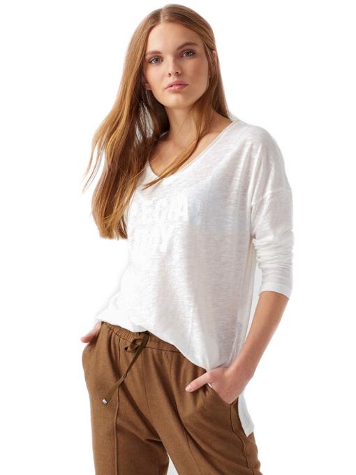 Дамска блуза с V-образно деколте XINT 116 - цвят екрю A