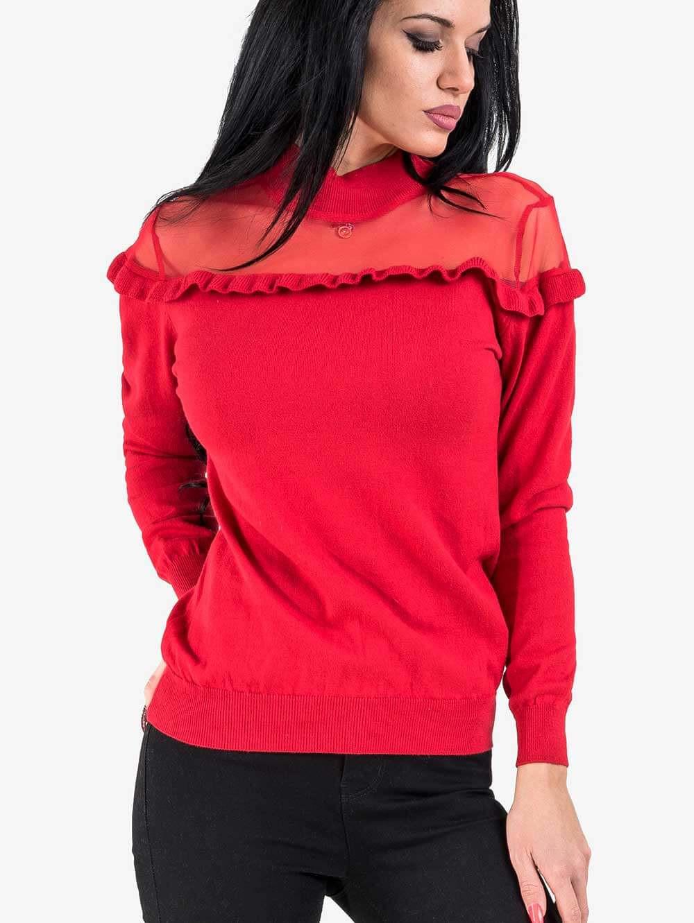59dc73d7d64 Дамска червена блуза с дантела | Блузи с дълъг ръкав от INDIGO Fashion