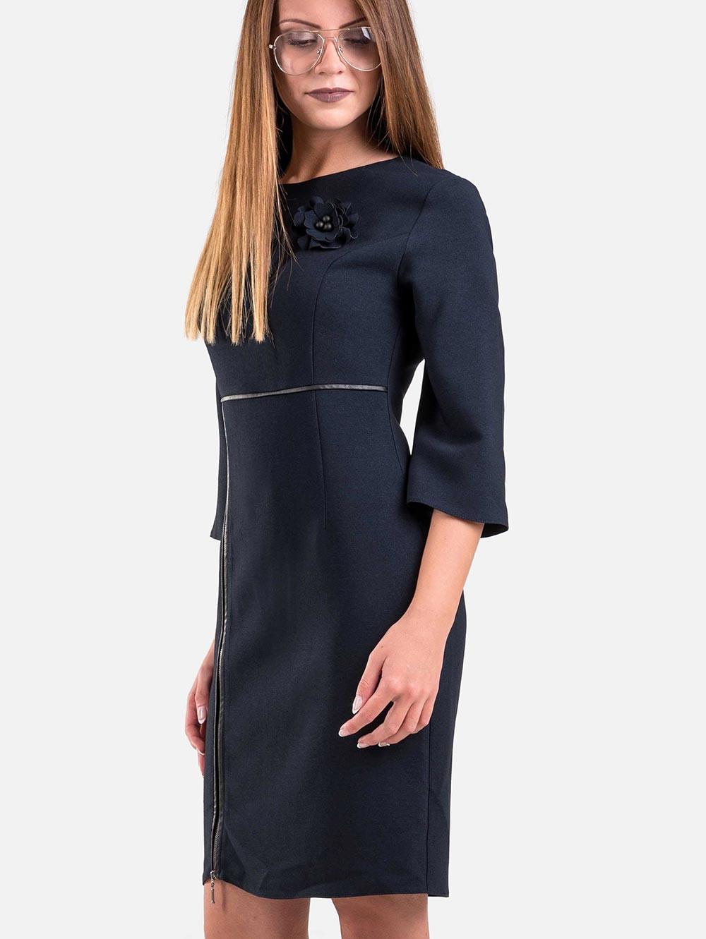d2ace59db84 Стилна рокля с клоширани ръкави - тъмносиня | Елегантни рокли от INDIGO  Fashion