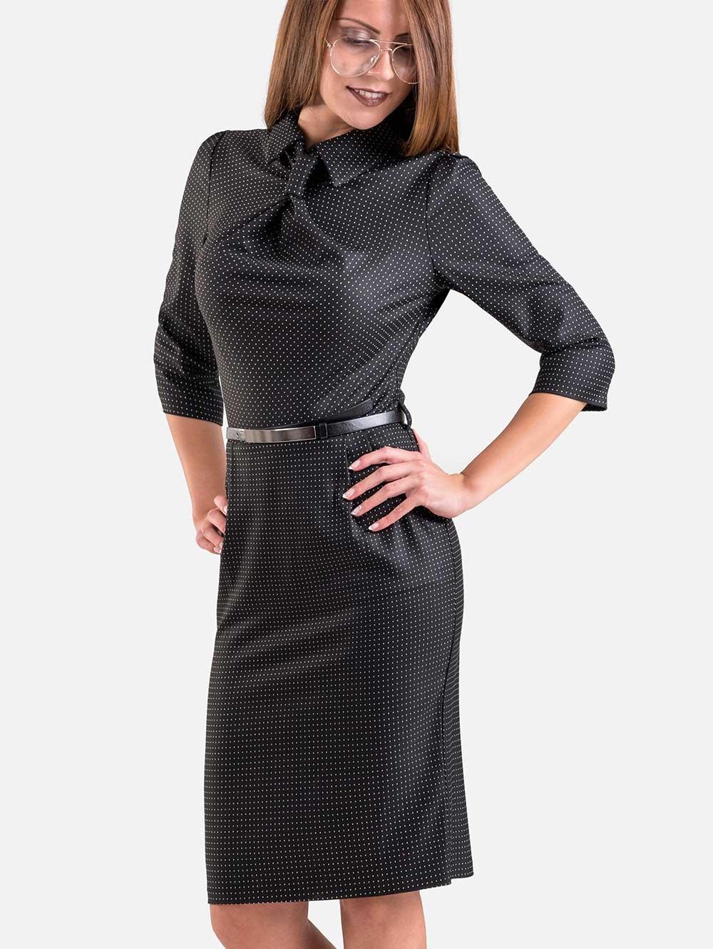 3c7eae0852d Черна рокля с имитация на вратовръзка | Елегантни рокли от INDIGO Fashion