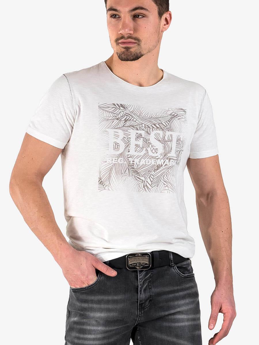 88aa558592c Мъжка тениска с щампа и надпис - цвят екрю   Тениски от INDIGO Fashion