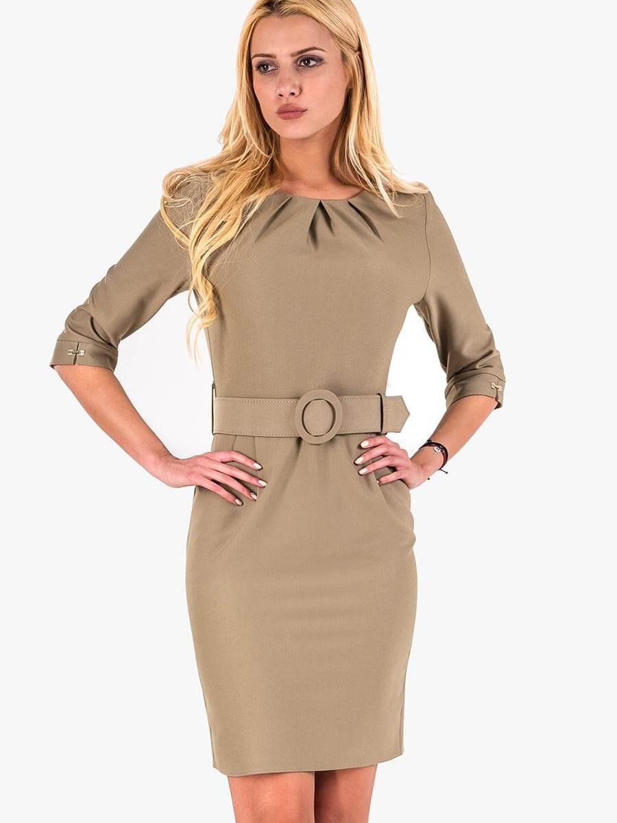 7a4681c717e Вталена елегантна рокля - тютюнево зелена | Елегантни рокли от INDIGO  Fashion
