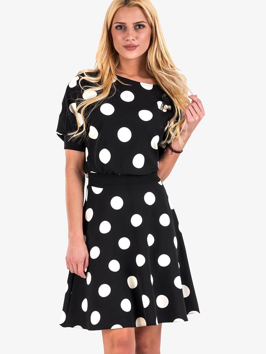 21ed7ff5bde Елегантна рокля на големи бели точки - черна | Елегантни рокли от INDIGO  Fashion